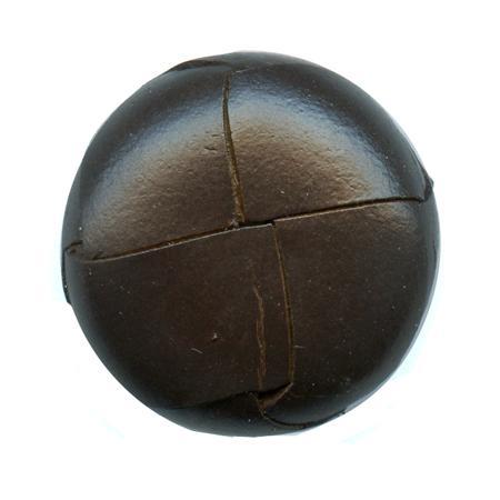 Bouton cuir tressé à queue marron - 2 cm