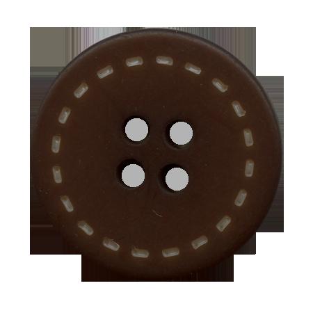 Bouton 4 trous surpiqué chocolat - 1,8 cm