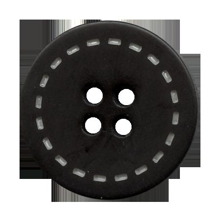 Bouton 4 trous surpiqué noir - 2,3 cm