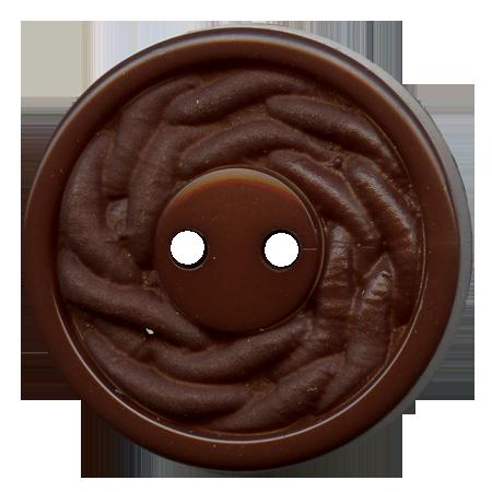 Bouton 2 trous marron - 2,7 cm