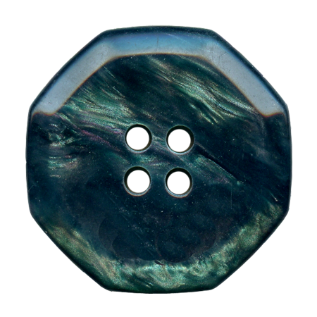 Bouton 2 trous ''hexagonale''  vert sapin - 1,8 cm