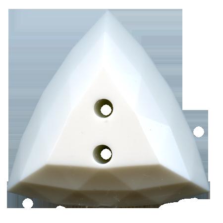 Bouton 2 trous ''diamant'' blanc - 3,1 cm
