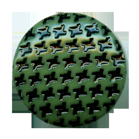 Bouton à queue ''pied de poule'' vert sapin - 1,5 cm