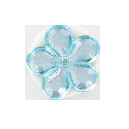 Bouton à queue ''strass fleur'' bleu clair - 1,2 cm
