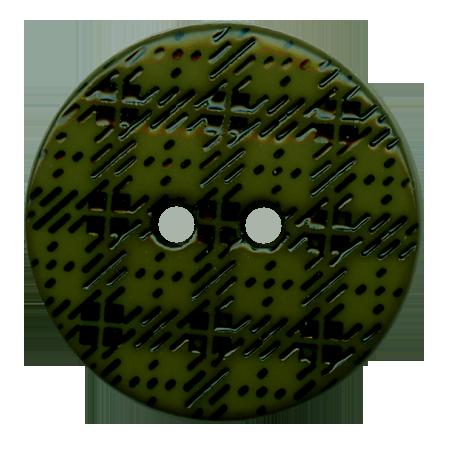Bouton 2 trous ''écossais'' vert olive - 2,2 cm