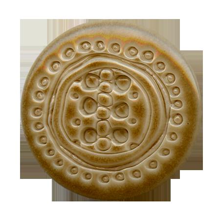 Bouton à queue ''motif point'' sable - 1,8 cm