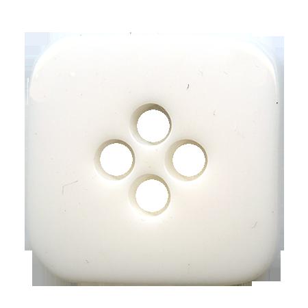 Bouton 4 trous ''carré arrondi'' blanc - 1,5 cm