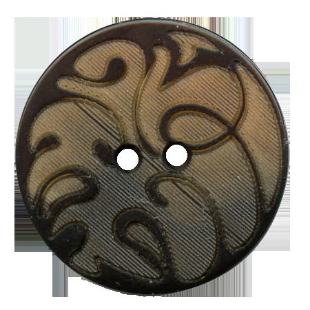 Bouton 2 trous ''volutes'' marron - 1,5 cm