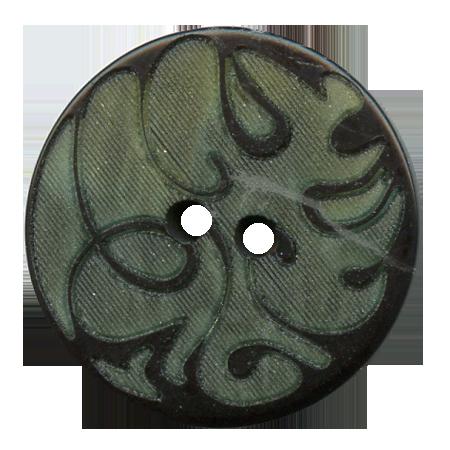 Bouton 2 trous ''volutes'' vert olive - 2,2 cm