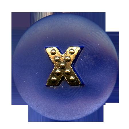 Bouton à queue ''croix métal'' bleu roi - 1,5 cm