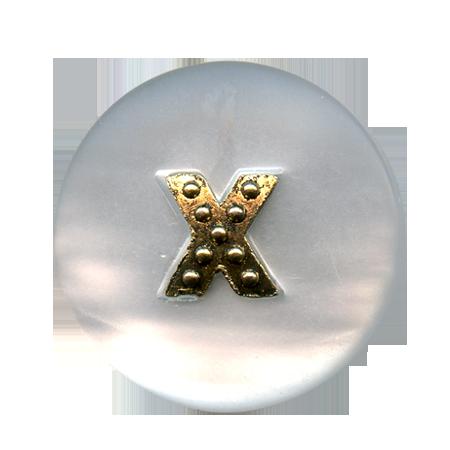 Bouton à queue ''croix métal'' blanc - 1,5 cm