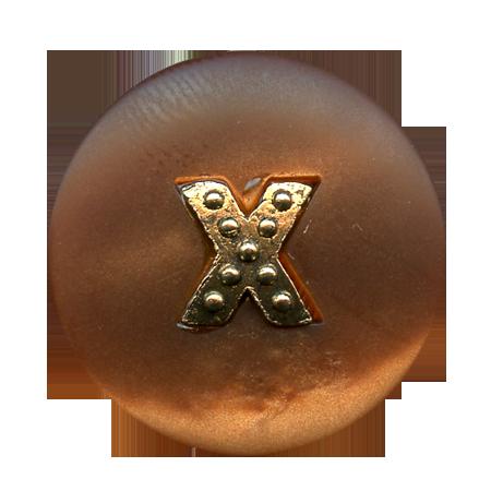 Bouton à queue ''croix métal'' marron - 1,5 cm
