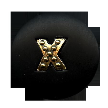 Bouton à queue ''croix métal'' noir - 1,8 cm
