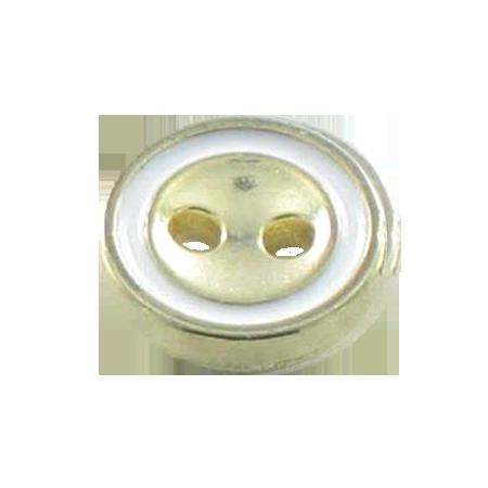 Bouton 2 trous métal blanc - 1,1 cm