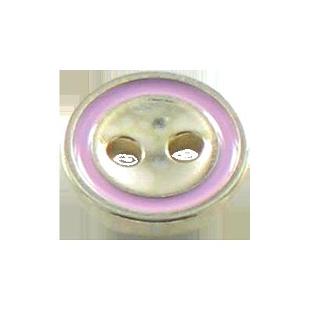 Bouton 2 trous métal rose - 1,1 cm