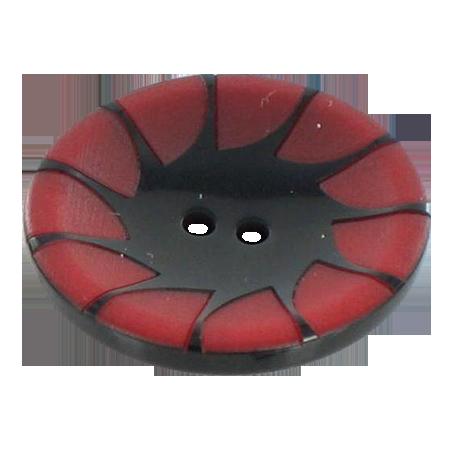 Bouton 2 trous ''écailles'' rouge - 2,2 cm