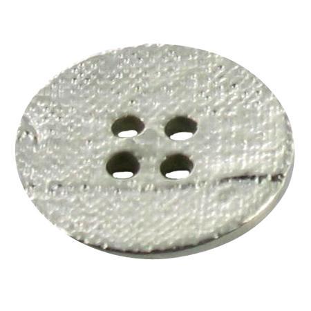 Bouton 4 trous rond argenté - 2,8 cm