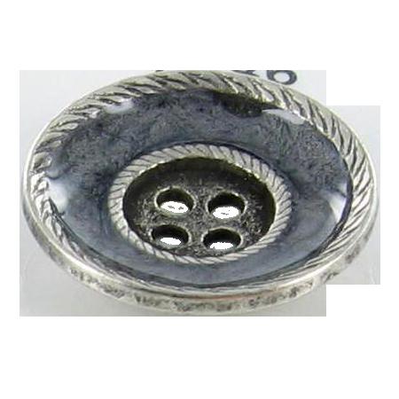 Bouton 4 trous ''bordures filées'' argenté - 1,8 cm