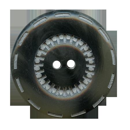 Bouton 2 trous ''traits d'union'' gris - 2,2 cm