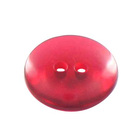 Bouton 2 trous transparent rouge - 1,2 cm