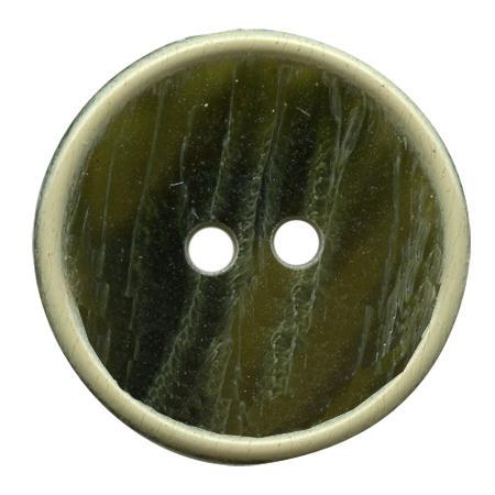 Bouton 2 trous vert olive - 1,8 cm