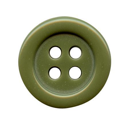 Bouton 4 trous vert olive - 1,4 cm