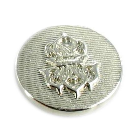 Bouton à queue ''armoirie'' argenté - 2 cm