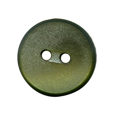Bouton 2 trous plat  vert olive - 1,2 cm