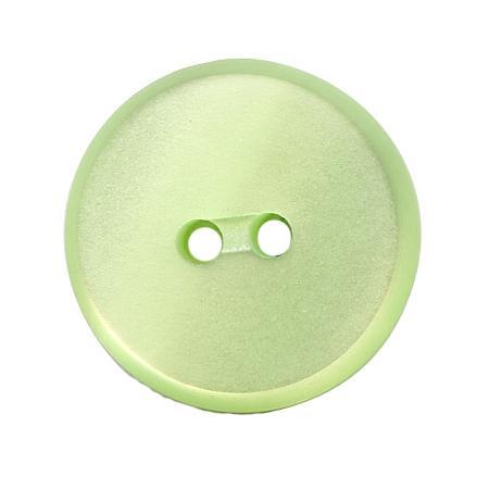 Bouton 2 trous plat  vert pâle - 1,8 cm