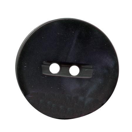 Bouton 2 trous polyester  nacre bleu marine - 1,3 cm