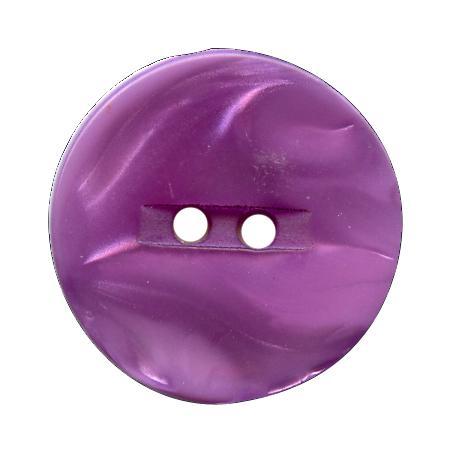 Bouton 2 trous polyester  nacre mauve - 1,3 cm