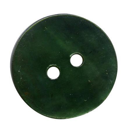 Bouton 2 trous nacre vert sapin - 1 cm