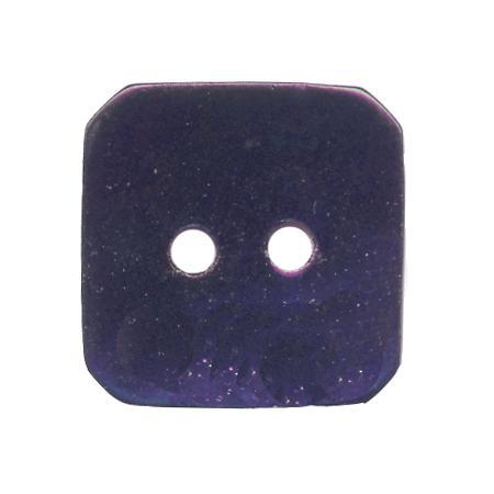 Bouton 2 trous carré  nacre bleu marine - 1,8 cm