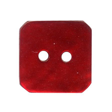 Bouton 2 trous carré  nacre rouge - 2,3 cm