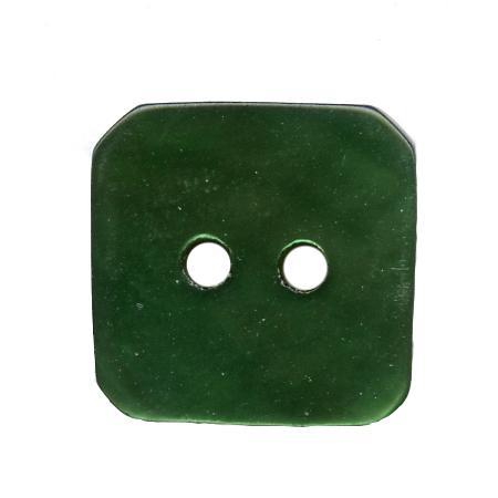Bouton 2 trous carré  nacre vert sapin - 1,5 cm