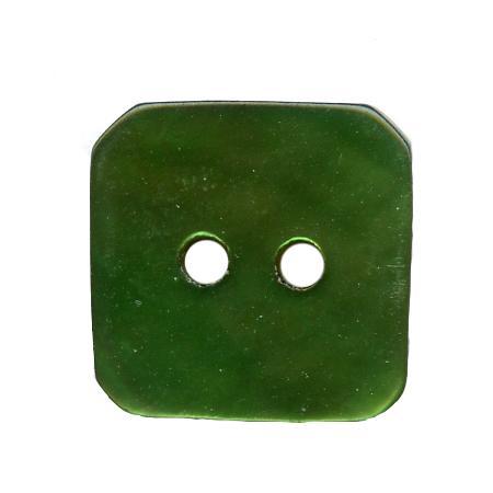 Bouton 2 trous carré  nacre vert pelouse - 1,5 cm