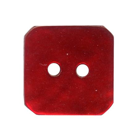 Bouton 2 trous carré  nacre rouge - 1,5 cm