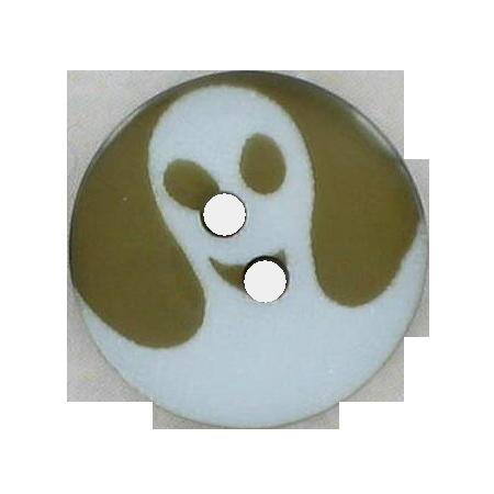 Bouton 2 trous fantôme marron - 1.3 cm