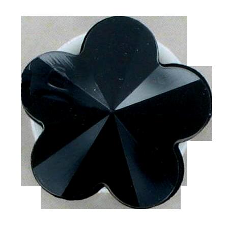 Bouton à queue «fleur» noir - 0,9 cm