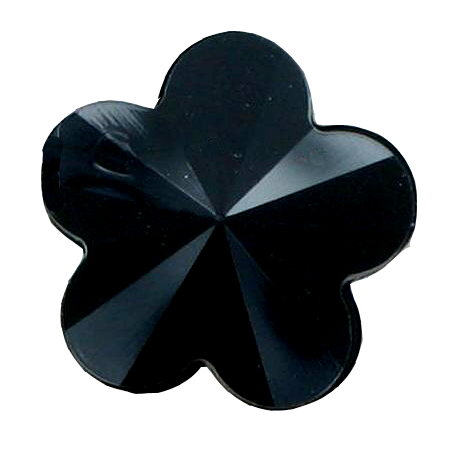 Bouton à queue «fleur» noir - 1,1 cm