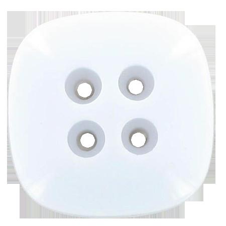 Bouton 4 trous carré blanc - 2,2 cm