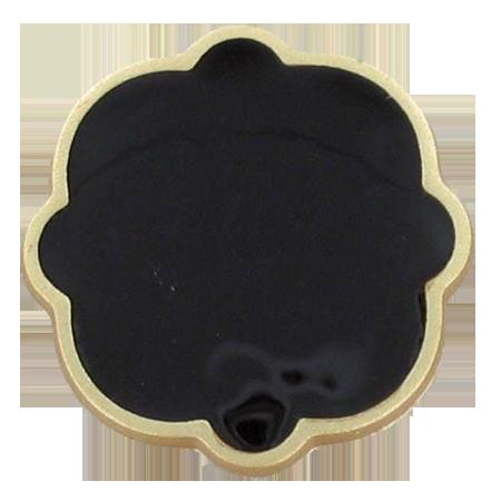 Bouton à queue veloutes vernis noir - 1,8 cm