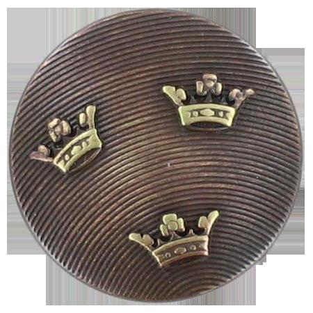 Bouton à queue couronnes bronze - 1,5 cm