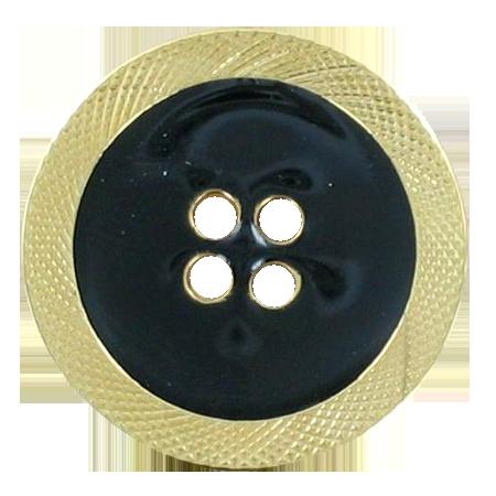 Bouton 4 trous émaillé noir - 1,8 cm