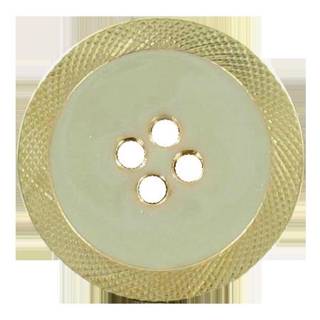 Bouton 4 trous émaillé beige - 1,5 cm