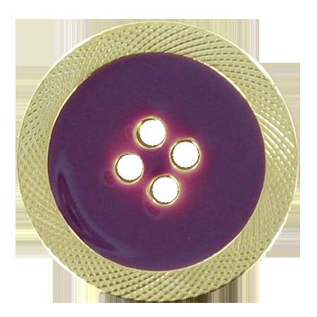 Bouton 4 trous émaillé violet - 1,5 cm