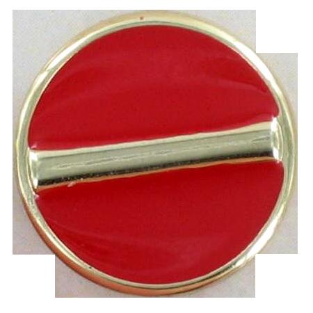Bouton à queue émaillé barre rouge - 1,1 cm