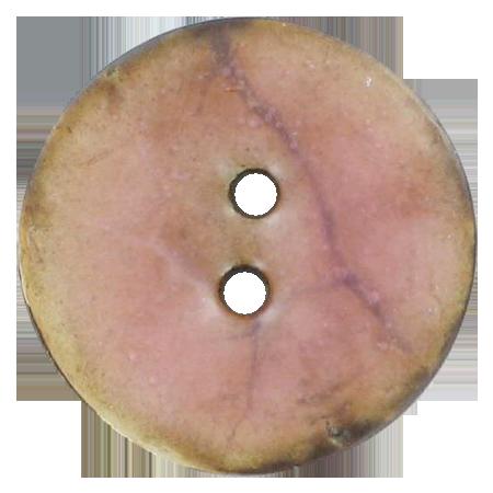 Bouton 2 trous coco laque rose - 2 cm