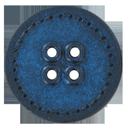 Bouton 4 trous sellier bleu - 3 cm