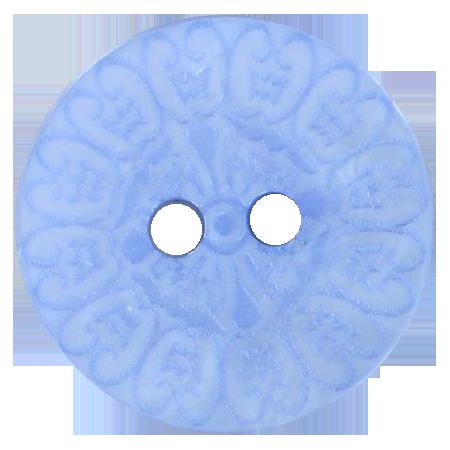Bouton 2 trous baroque bleu - 2,8 cm